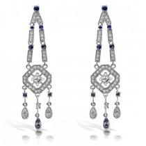 Blue Sapphire & Diamond Chandelier Earring 18k White Gold (1.33ct)