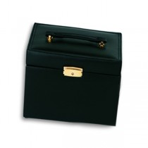 Genuine Black Leather 4 Drawer Jewelry Box w/ Travel Box