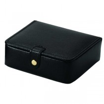 Pigskin Lined Black Leather Ring & Jewelry Box For Home or Travel