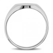 Men's Oval Shaped Signet Ring Engravable 14k White Gold 10x8mm