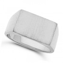 Men's Signet Ring Rectangular Shaped, Engravable in 14k White Gold