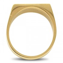 Men's Signet Ring Rectangular Shaped, Engravable in 14k Yellow Gold