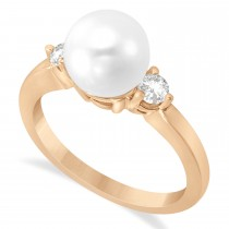 Akoya Cultured Pearl & Diamond Ring 14k Rose Gold 0.12 ct (3.20mm)