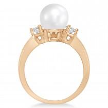 Akoya Pearl & Diamond Ring 14k Rose Gold 0.12 ct (3.20mm)