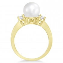 Akoya Pearl & Diamond Ring 14k Yellow Gold 0.12 ct (3.20mm)|escape