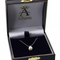 White Akoya Cultured Round Pearl Solitaire Pendant 14K White Gold 6mm