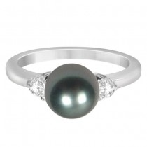 3 Stone Diamond & Black Akoya Cultured Pearl Ring 0.17ctw (8mm)