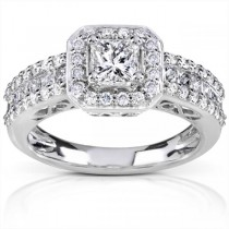 Princess Cut w/ Halo Diamond Engagement Ring 14K White Gold (1.25ct)