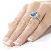 Blue Topaz Gemstone Ring with Diamond Halo 14K White Gold (5.10ct)