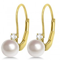 Cultured Akoya Pearl & Diamond Earrings Leverbacks 14K Yellow Gold