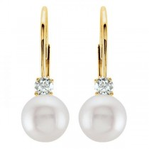 Cultured Akoya Pearl & Diamond Earrings Leverbacks 14K Yellow Gold