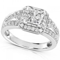Split Shank Princess Cluster Diamond Engagement Ring 14K W. Gold 1.00ct