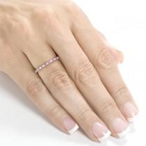 Round Diamond & Pink Sapphire Band in 14kt White Gold (0.25ct)