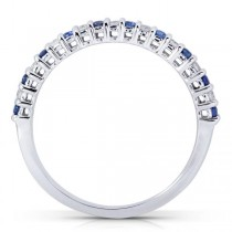 Round Diamond & Blue Sapphire Band in 14kt White Gold (0.25ct)|escape