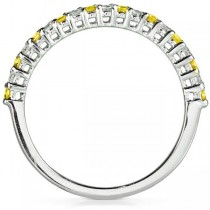 Round Diamond & Yellow Sapphire Band in 14kt White Gold (0.25ct)