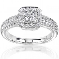 Princess Cut Cluster Engagement Ring 14K White Gold (0.50ct)