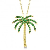 Tsavorite & Yellow Sapphire Palm Tree Necklace 14k Yellow Gold (0.30ct)