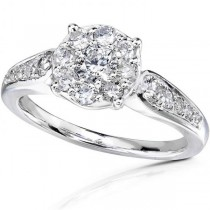 Round Cluster Diamond Engagement Ring in 14K White Gold (0.75ct)