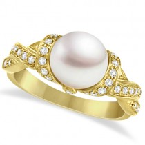 Freshwater Cultured Pearl & Diamond Ring 14k Yellow Gold .25ctw (8mm)