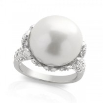 Freshwater Pearl and White Topaz Ring in Sterling Silver 14-15mm