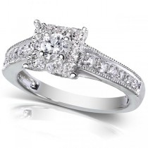 Round Cut Diamond Engagement Ring w/ Princess Halo 14k White Gold 0.50ct