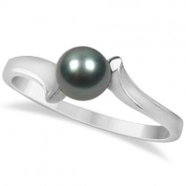 Solitaire Black Akoya Cultured Pearl Ring Bypass Design (5.5mm)