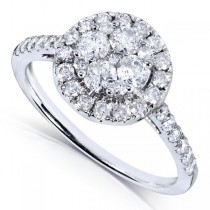 Round Diamond Cluster Halo Engagement Ring 14k White Gold (1.00ct)