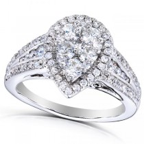 Pear Cluster Diamond & Halo Engagement Ring 14k White Gold (1.00ct)