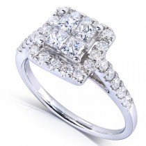 Princess Cluster & Halo Diamond Engagement Ring 14k White Gold 1.35ct