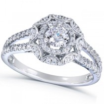 Vintage Style Round Cut Diamond Engagement Ring 14k White Gold 1.00ct