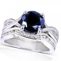 Round Blue Sapphire & Diamond Bridal Set in 14k White Gold (1.70ct)