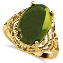 Green Jade Ring Cabochon Cut Carved 14x10mm 14k Yellow Gold