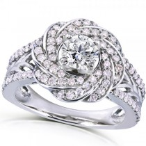Round Cut Diamond Engagement Ring w/ Floral Swirl 14k W. Gold (1.00ct)