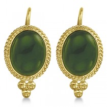 Oval Jade Earrings Bezel Set Lever Backs Antique Style 14k Yellow Gold