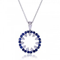Circular Blue Sapphire and Diamond Pendant in 14k White Gold (1.75ct)