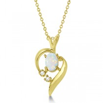 Opal Cabochon and Diamond Heart Pendant in 14k Yellow Gold (0.52ctw)
