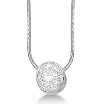 Moissanite Solitaire Pendant Slide Necklace 14K White Gold 0.50ct