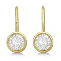 Moissanite Bezel Set Stud Earrings Leverbacks 14K Yellow Gold 1.00ctw|escape