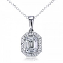 Emerald-Cut Halo Diamond Pendant Necklace 14k White Gold (0.50ct)