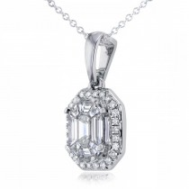 Emerald-Cut Halo Diamond Pendant Necklace 14k White Gold (0.50ct)|escape
