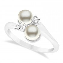 Bypass Freshwater Pearl & Diamond Ring 14k White Gold (6.0mm)