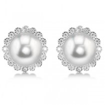 Freshwater Pearl & Diamond Halo Earrings Sterling Silver 8-8.5mm