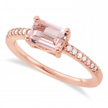 Diamond & Rose Morganite Accented Ring 14k Gold Gold (0.90ct)