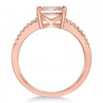 Diamond & Rose Morganite Accented Ring 14k Gold Gold (0.90ct)