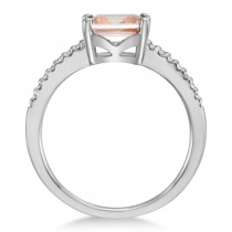 Diamond & Rose Morganite Accented Ring 14k White Gold (0.90ct)
