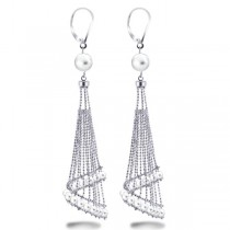 White Freshwater Chandelier Pearl Earrings in Sterling Silver