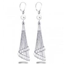 White Freshwater Chandelier Pearl Earrings in Sterling Silver