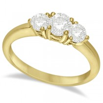 Three Stone Moissanite Engagement Ring 14K Yellow Gold 1.00ctw