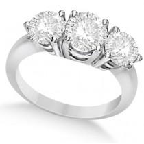 Three Stone Moissanite Engagement Ring 14K White Gold 1.75ctw