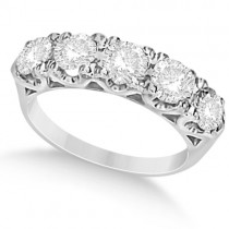 Five Stone Moissanite Wedding/Anniversary Band in 14K W. Gold 1.62ctw